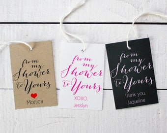 Set of 18 -From my Shower to Yours Favor Tags - ANY COLOR - 2x3 inch Hang Tags | Bridal Shower Favor Tags | Baby Shower Favor Tags