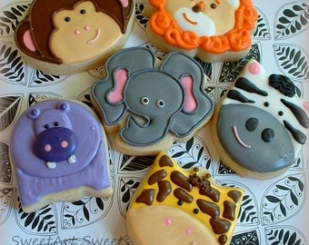 Animal Cookies - Elephant, Lion, Monkey, Hippo, Zebra, Giraffe - Jungle Safari Cookies - 1 dozen Birthday Decorated Cookie Favors