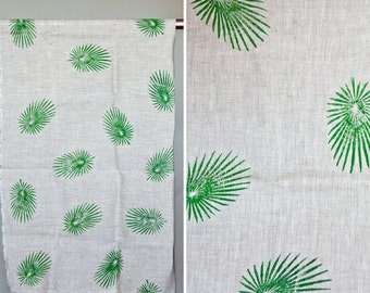 Green Jungle Leaves Pattern - Hand Block Printed - Natural Linen - Fabric By The Yard