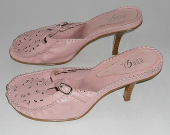 Pink High Heels, Rhinestones, Slip On Pumps, Sandals, Women Size 8.5, Vintage