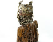 Jere Era 70s Owl Statue. Mid Century Modernist Brass Owl