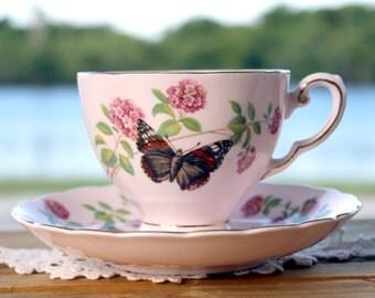 Royal Tuscan, Tea Cup, Cup and Saucer, June Glory, English Bone China, Pink Vintage Teacups 13127