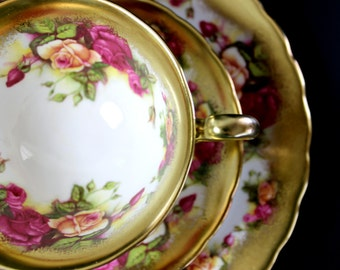 Royal Chelsea, Golden Rose, Trio Set, Bone China, Vintage Teacups, Tea Cup, Saucer and Plate 13126