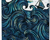 Eye Of The Wind - Prints - Island art - Nautical wall decor - Beach Art - Nursery Art, wave prints, sailboat print, nautical nursery decor