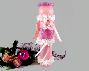 Wooden Spindle Angel, Pink Christmas Angel, Recycled Wood Angel, Christmas Angel Decor, Pink and Lavender Glitter Angel, White Lace Ribbon