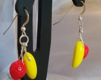 Strawberry and Banana earrings