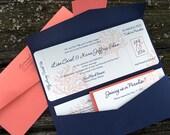 Destination Wedding Invitation - Tropical Wedding Invitation - Wedding Invitation Ticket - Boarding Pass Wedding Invitation - W-20 - SAMPLE