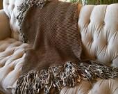 Chunky Knit Blanket Chunky Blanket Chunky Throw Blanket Teal, Grey Chunky Mini Blanket Throw Fringe Thick Blanket Afghan