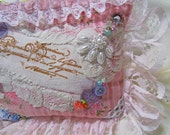 Pink Lace Clutch, pink coin purse, romantic lace beads embellished, frilly lace pink makeup bag cosmetic pouch, small cute pouch