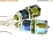 ON SALE Swarovski Crystal Cube Earrings, Sterling Silver, Olivine AB and Montana Blue Ab, Bridal Earring, Wedding Accessories, Bridesmaid Ea