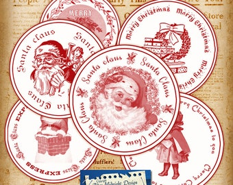 Christmas Circles Stamp No 3 - digital collage sheet Christmas labels - Stickers - Cake toppers
