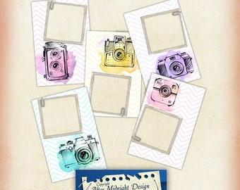 Photo Frames No 1 Digital Clipart Frames, 4x6 papers, Camera frames, png files for scrapbooking and digital craft