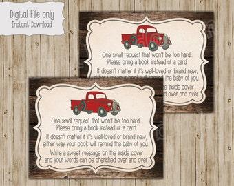 Baby Shower Book Insert, Bring a Book Insert, Bring a Book Instead of a Card, Book Insert Card, Vintage Truck Baby Shower, Red Truck
