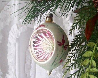 Vintage Christmas Ornament Large Pink Tear Drop Ribbed Indent Glass Ornament Pink Holiday Ornament Vintage 1950s
