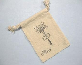 10 wedding muslin favor bags 3.5 inch by 5 inch - Paris wedding favor bags - Paris bridal shower favor bags - French gift bags