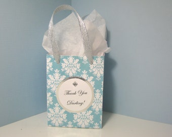 10 Breakfast at Tiff... Favor Bags - Thank You Darling - Audrey Hepburn Party Favor Bags - Small Shopping Bags - Gift Bags