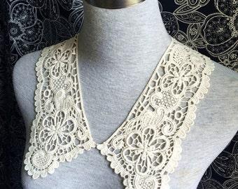 Cotton Applique - 1 Pair Light Beige Applique for Altered Couture, Costume Design(A402)