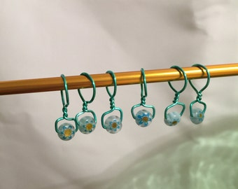 Wire wrapped, Beaded, Snag-less Stitch Markers, BlueGreen
