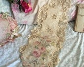 Antique Victorian Dress Remnant Scrap From FIT New York MUSEUM  Deaccession Needlelace Needle Lace Watered Silk Pink Roses Embroidered H119