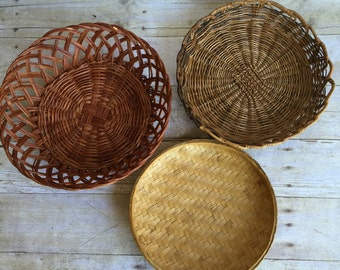 Modern Woven Trays Wall Hanging Vintage Basket Collection