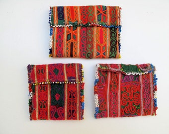 Wrist Cuff, Tribal Wallet with Zazi Hand Embroidery and Beaded Fringe from Afghanistan