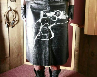 Hand painted,repurposed skirt