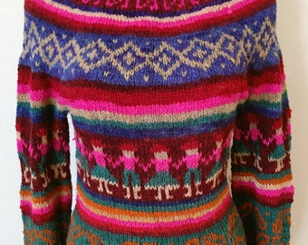 Vintage handmade folk sweater ~ hand dyed color, Nordic, 1970's , small