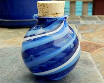 Hand Blown Glass Cobalt Blue Stash Jar, Ready to Ship