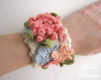 Crochet bracelet - Crochet cuff featuring spring flowers - The Bloom Collection Made to order