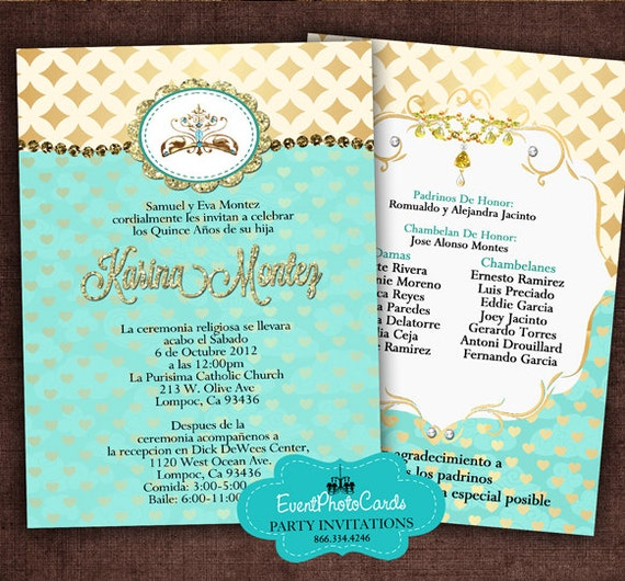 gold and teal quinceanera invitation set printable diy print