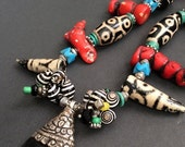 20% WINTER SALE Exotic, Tribal inspired Custom Designed Necklace / Treasure Chest of Tibetan/African Artifacts / Liz Wolter
