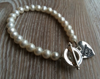 Ivory Pearl Bracelet UK made Fresh Water Pearl White