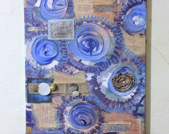 Blue Mixed Media Collage Artwork, Original Swirls Painting, Wall Art With Book Pages and Fabric, Multi Media Artwork, 16 x 21 Inch Canvas