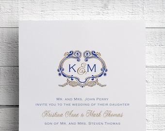 Indian Wedding Invitations Monogram Wedding Invitation Sample