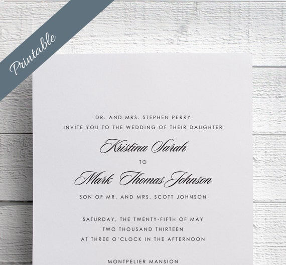 Simple Wedding Invitations Printable Black By