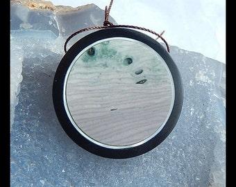 Wave Jasper,Black Stone Intarsia Pendant Bead,Focal Pendant Bead,40x6mm,19.4g(a0542)