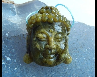 Carved Serpentine Buddha Head Pendant Bead,31x25x10mm,10.1g