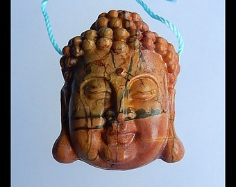 Carving Bead,Carved Multi Color Picasso Jasper Gemstone  Buddha Head Pendant Bead,25x31x10mm,11.26g