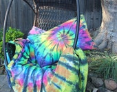 Tie Dyed twin separates.  XL fitted and flat sheets, pillowcase, or duvet cover  Rainbow colors with black contrast FREE shipping