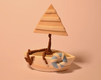 Sailing Boat, Cake Topper, Polymer Clay