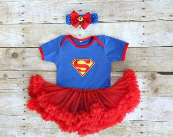 Superman Supergirl Girl Superhero Halloween dress pettiskirt Tutu dress/bodysuit, headband, outfit. Baby, toddler 3 months-18 months