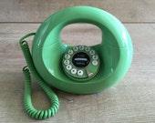Donut Phone, Vintage Donut Phone, Mid Century Phone, Midcentury  Telephone, Retro Phone, Green Donut Phone