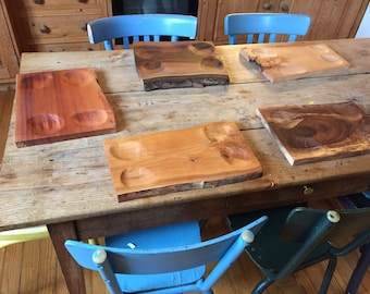 Set of 6 Wooden Serving Boards, Tapas serving platters, Cheese course board, Hand crafted Aperitif Board, Snack Platter, tableware boards