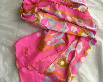 Lovely Pink Mod Burmel Silk Scarf vintage 60's