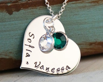 Two Kids Mommy Necklace / Heart Necklace / Personalized Hand Stamped Sterling Silver jewelry / Close to me