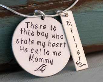 Hand Stamped Personalized Sterling Silver Necklace - There is this boy who stole my heart - Mother son necklace