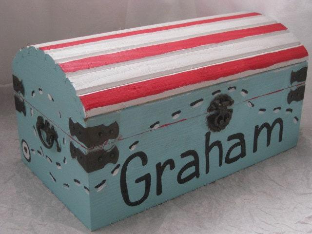 Personnalis en bois pirate tr sor coffre jouet souvenir box - Coffre a jouet personnalise ...