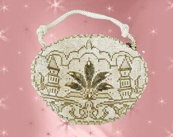 1940s Small Beaded Purse - 40s Small Evening Bag - Little Vintage Handbag - White Beads