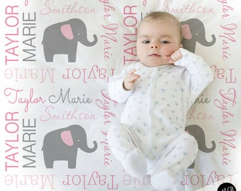 Elephant Name Blanket in pink and gray, Girl, personalized blanket, keepsake blanket, baby blanket, personalized blanket, choose colors