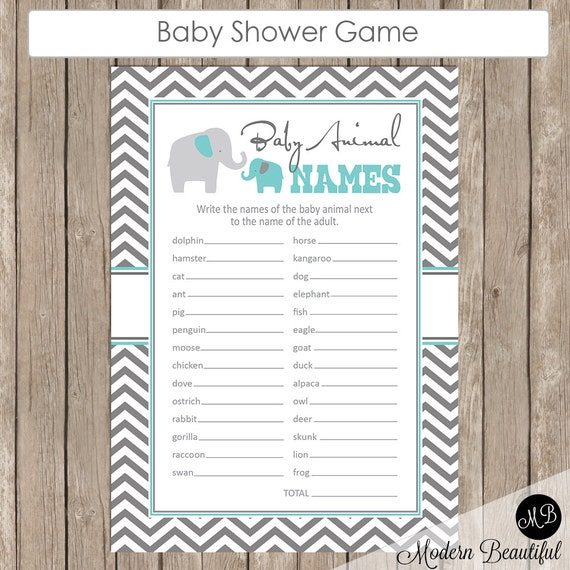 Baby Shower Game Name The Baby Animal: Baby Animal Names Baby Shower Game Elephant Theme Animal Name